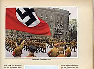 """Kolorierte Sammelbilder im Album """"Deutschland erwacht. Werden, Kampf und Sieg der NSDAP"""", hrsg. vom Cigaretten-Bilderdienst Hamburg Bahrenfeld, 1933, S. 69"""