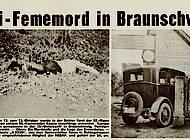 Im Oktober 1932 wurde der SS-Mann Kampe von anderen SS-Angehörigen ermordet. Ein Ermittlungsverfahren wurde eingestellt. Illustrierte Republikanische Zeitung.